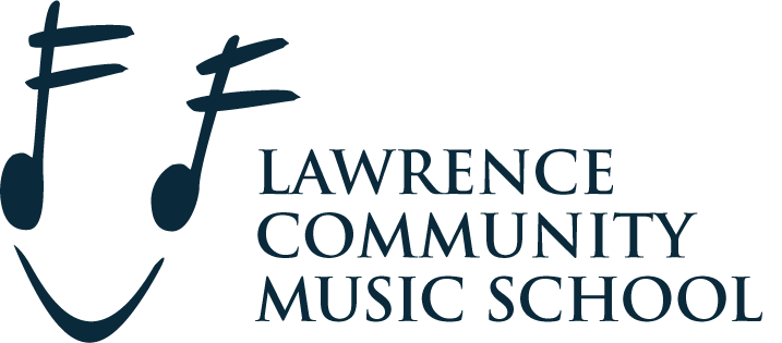 The Lawrence Community School Logo. It features two stylized sixteenth notes with a tie at the bottom, shaped like a smiley face.