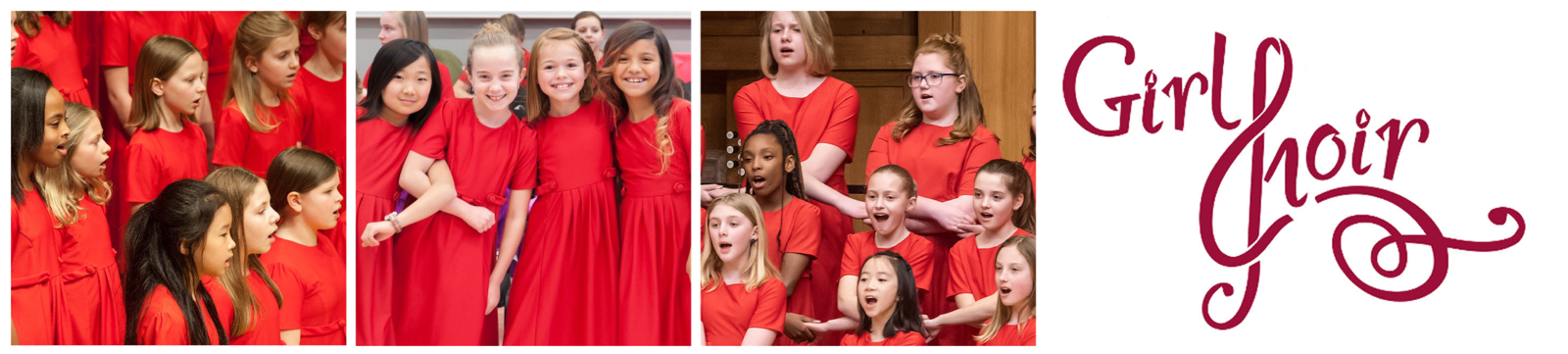 "Three photos: Allegretto students performing onstage, four singers smiling with their arms interlocked, Allegretto singing while holding hands. The Girl Choir logo follows, the ""C"" stylized to look like a treble clef."