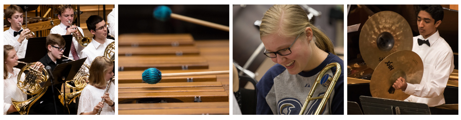Four photos: Symphonic Band playing onstage, a closeup of mallets on a marimba, a trombone student smiling during rehearsal, a closeup of a student playing the cymbals during a concert