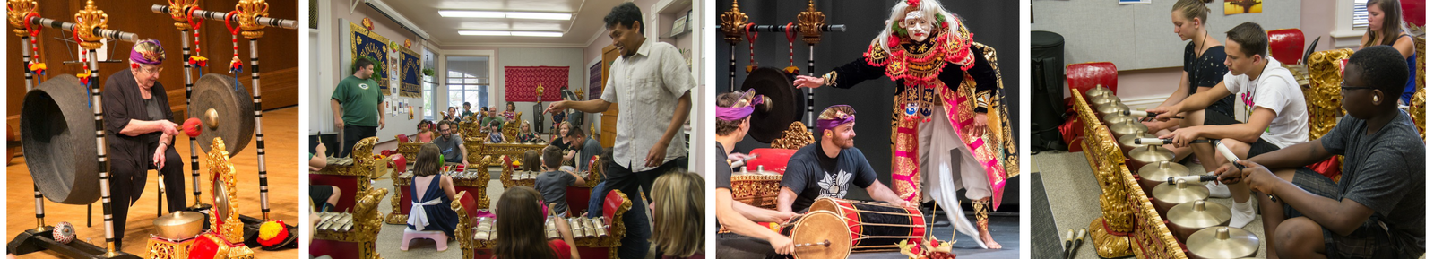 an elderly woman hits the gong with a mallet; a smiling teacher talks to the class of children and parents/guardians; a gamelan performance featuring drummers and a man dressed in traditional clothing and a mask; teenage students practicing gamelan