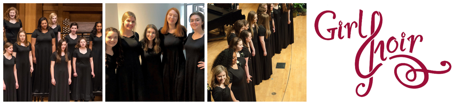 "Three photos: Bel Canto singing during a concert, 5 students smiling with their arms around each other, Bel Canto seniors holding hands in a line at the front of the stage. The Girl Choir logo follows, the ""C"" stylized to look like a treble clef."