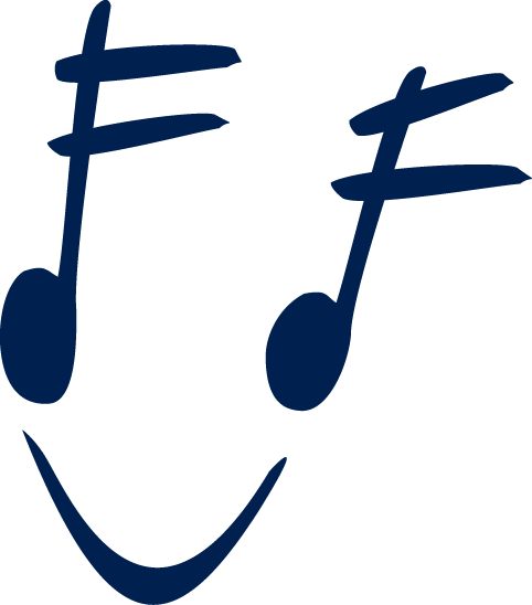 The Community Music School's logo: two stylized sixteenth notes with a tie on the bottom, making it look like a smiley face.