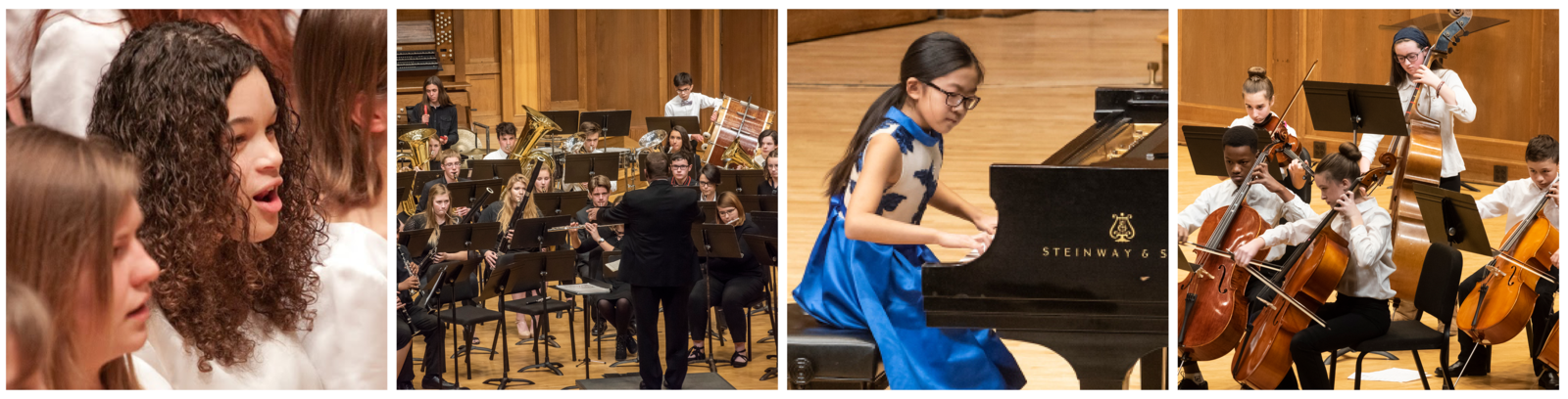 Four photos: a close-up of Girl Choir students singing at a concert, Wind Ensemble students playing at a concert, a young student playing the piano at the Honors Recital, ASTRO students performing at a concert
