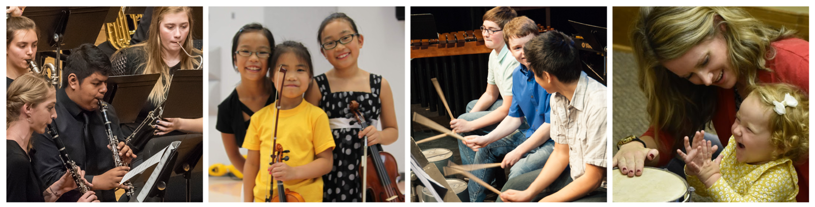 Four photos: Wind Ensemble playing during a concert, three young string players smiling and posing with their instruments, a drumming ensemble playing and grinning at each other, a mother and toddler playing a drum
