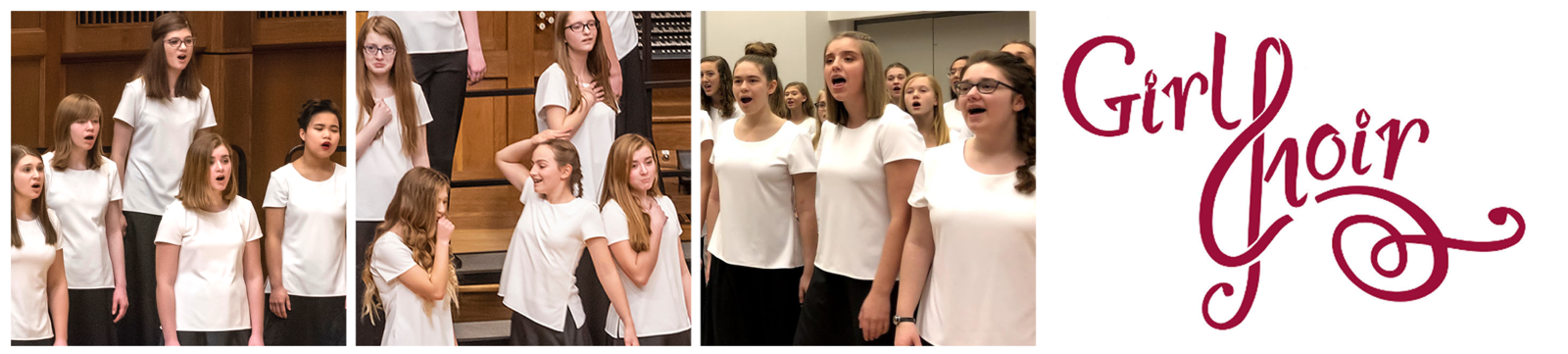 "Three photos: Cantabile students singing during a concert, students posing dramatically and trying not to laugh, Cantabile warming up backstage. The Girl Choir logo follows, the ""C"" stylized to look like a treble clef."