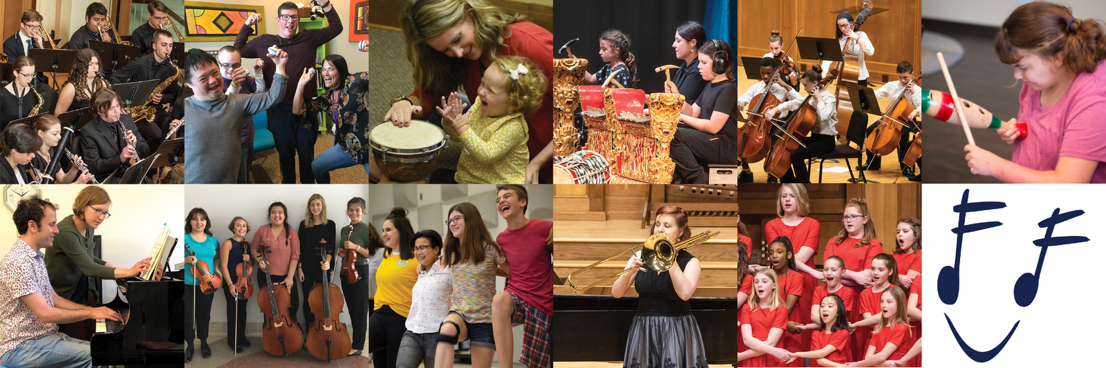 A collage of Community Music School program photos, including band, orchestra, gamelan, private lessons, ASTRO Girl Choir, summer camps, special needs classes, and Early Childhood Music classes. The smile logo is in the lower corner.