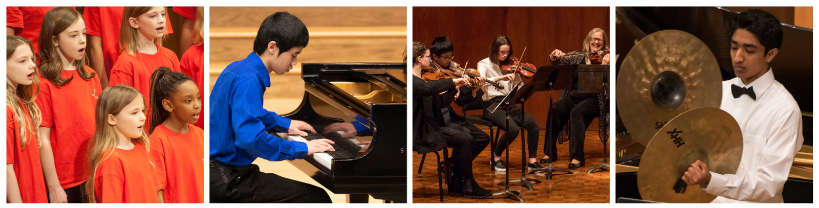 Four photos: the Ragazze Girl Choir singing on stage, a student playing piano at the Honors Recital, students and their instructor playing on stage at a chamber ensembles concert, a student crashing cymbals at a band concert