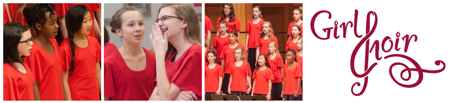 "Three photos: a closeup of three Capriccio students singing, two students talking and laughing backstage, Capriccio students singing during a concert. The Girl Choir logo follows, the ""C"" stylized to look like a treble clef."