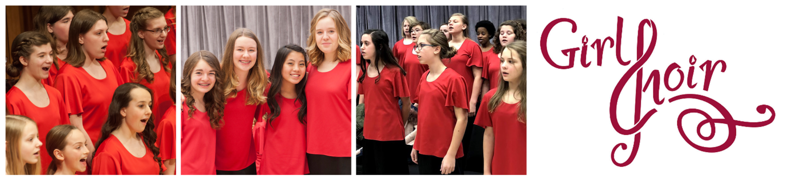 "Three photos: a closeup Arioso students smiling and singing, three smiling students with their arms around each other, Arioso students warming up backstage. The Girl Choir logo follows, the ""C"" stylized to look like a treble clef."