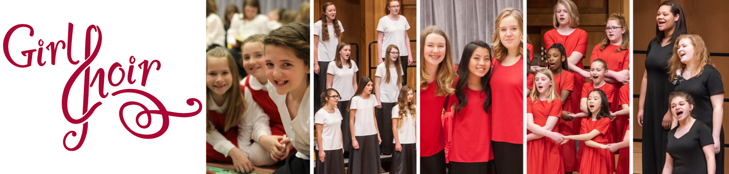 The Girl Choir logo appears on the left followed by several photos of Girl Choir students of all ages singing, smiling, playing together, and posing for the camera.