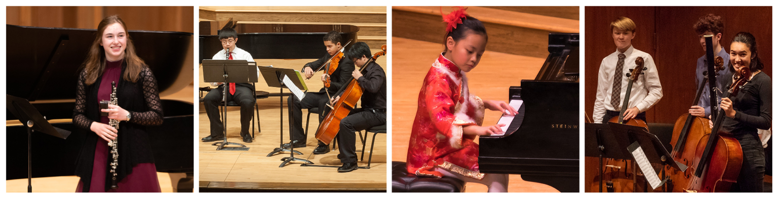 Four recital photos: a student smiling and holding her oboe on stage, a chamber ensemble performing on stage, a young student playing the piano on stage, students standing up and smiling after a performance