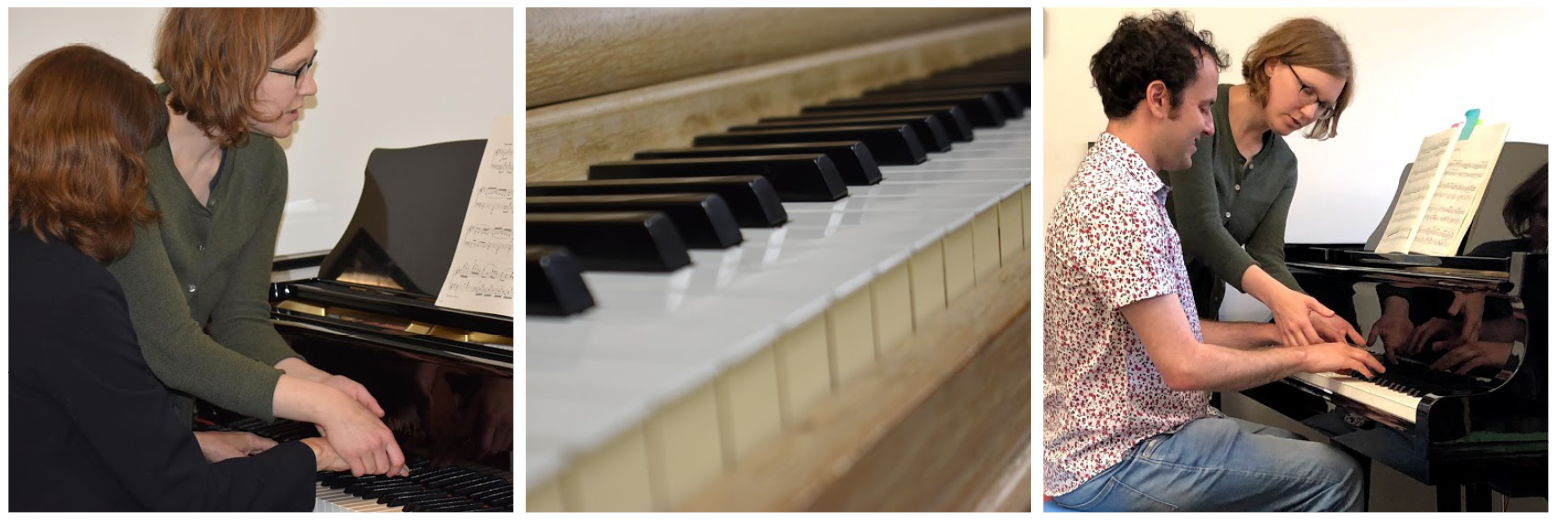 There are 3 photos: instructor Anna Reiser helps position the hands of a student on the piano, a closeup of a piano, Anna Reiser lifts a student's hand to demonstrate correct posture on the piano